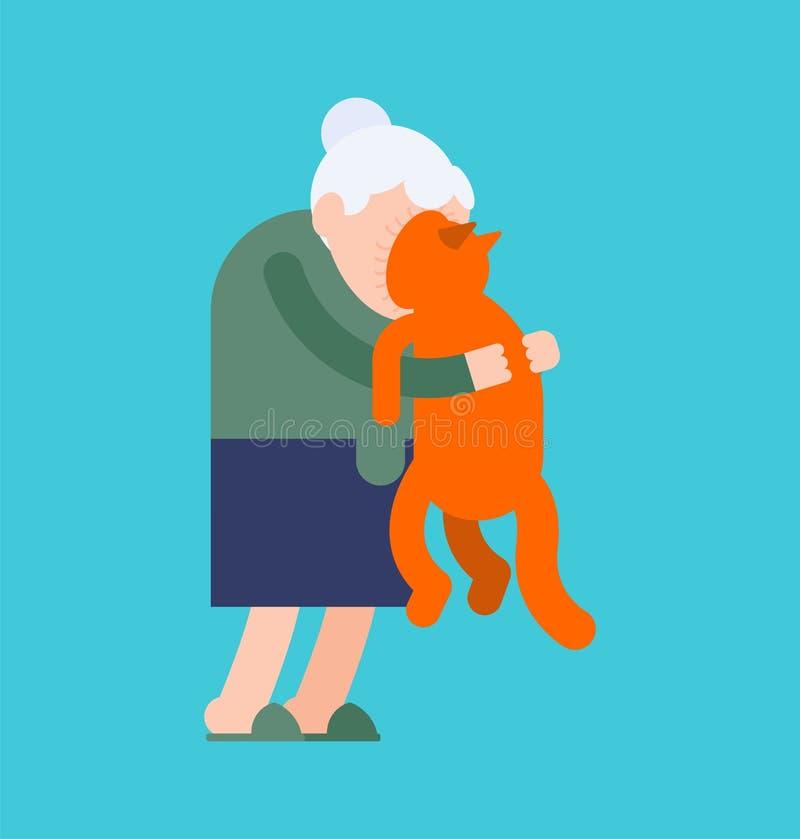 Grandma hugs cat. grandmother loves pet. granny amd home animal. vector illustration.  stock illustration