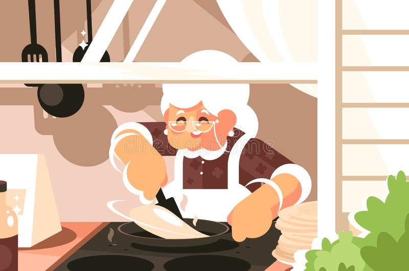 Grandma in kitchen cooking dinner. Vector illustration. Granny in apron and glasses baking pancakes flat style concept. Cuisine interior and home made food royalty free illustration