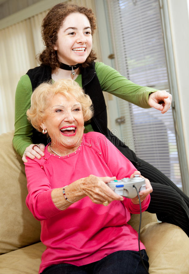 Download Grandma Loves Video Games stock image. Image of lifestyle - 9835989