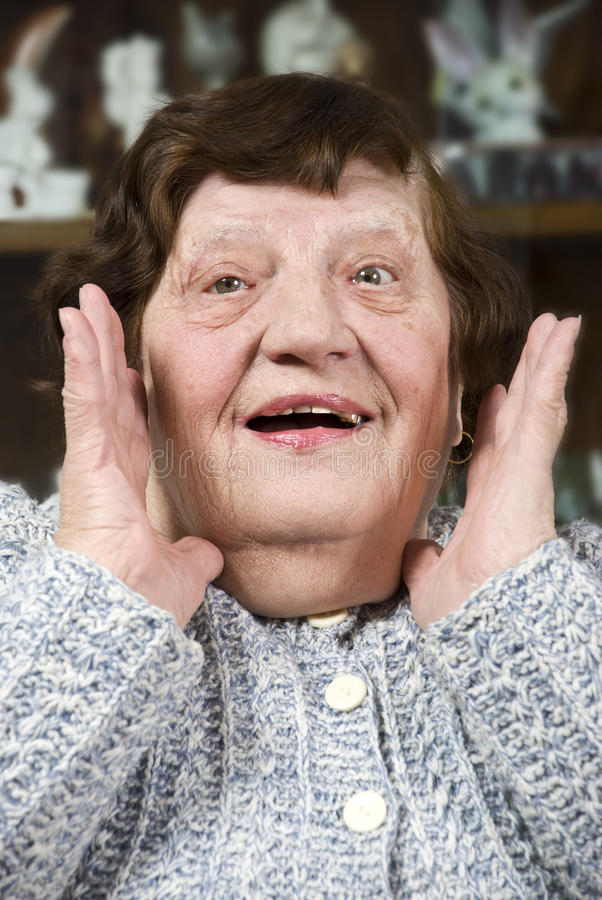 Grandma make a surprised face royalty free stock photo