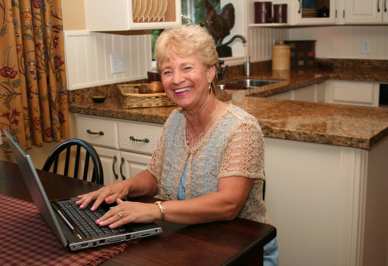 Grandma is online! stock photos