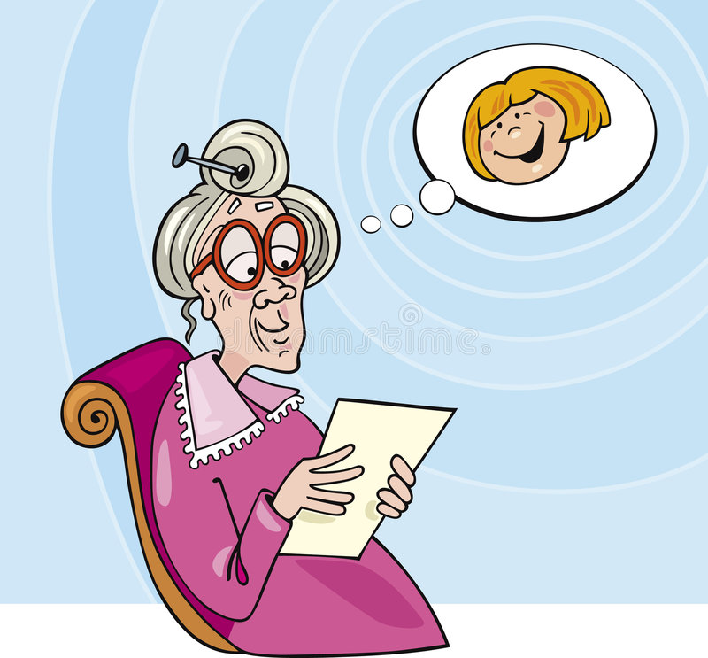 Grandma read letter. Illustration of grandma reading a letter from her grand-daughter royalty free illustration