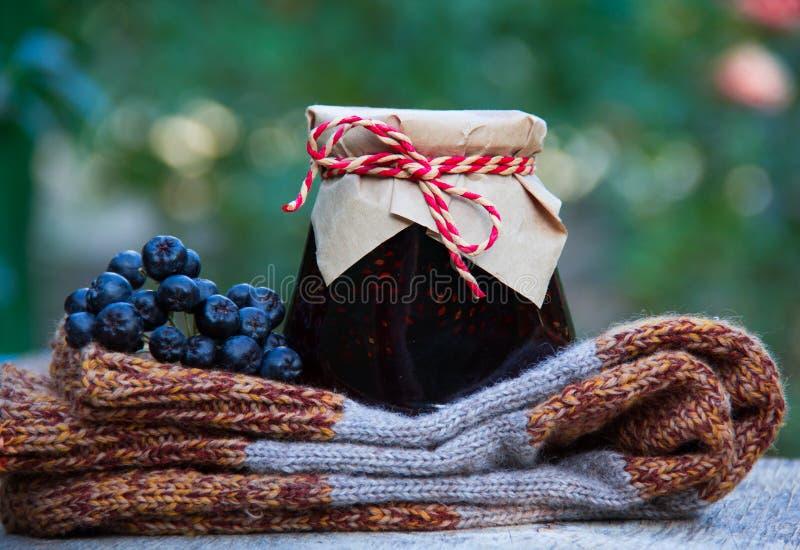 Grandma& x27; s-Geschenk Selbst gemachter Stau, gestrickte woolen Socken und schwarzer Chokeberry lizenzfreie stockfotos