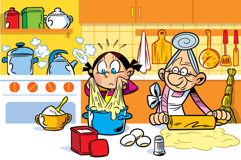 Grandma's helper royalty free illustration