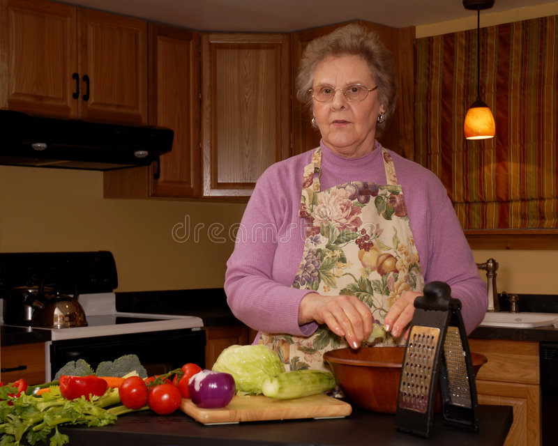 Download Grandma's Making Salad Stock Images - Image: 2142844