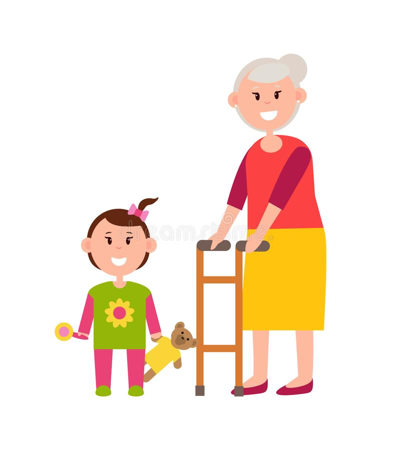 Grandma with Small Granddaughter Colorful Banner. Smiling girl with pretty teddy and pink bow on hair, joyful woman in red sweater and yellow skirt royalty free illustration