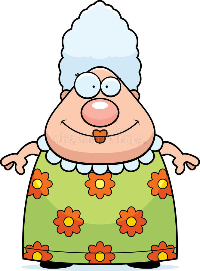 Grandma Smiling. A cartoon grandma standing and smiling royalty free illustration
