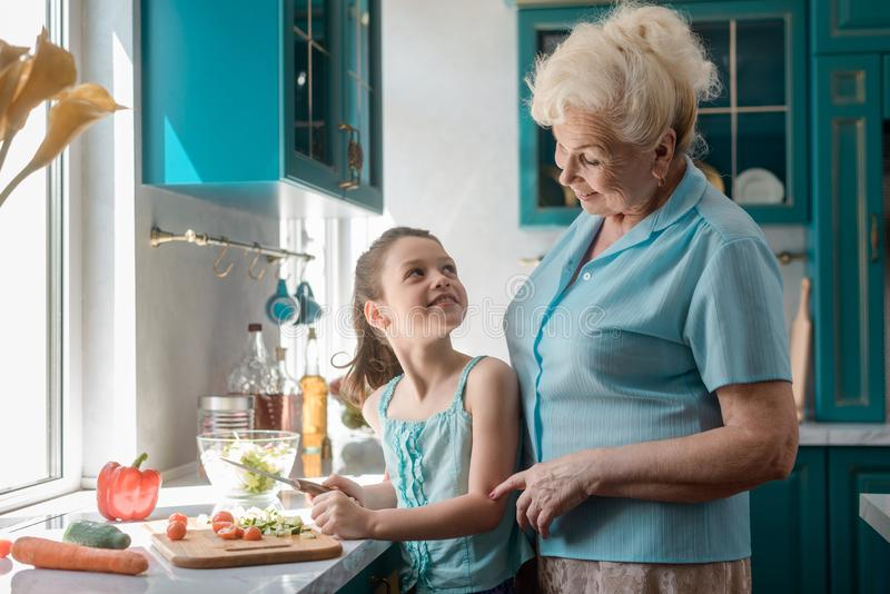 Grandma teaches grandchild to cook. Giving advices and tips. Smiling girl cutting fresh ingredients for salad under adult`s control royalty free stock photography
