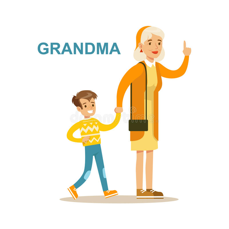 Grandma Walking With Grandson, Happy Family Having Good Time Together Illustration. Household Members Enjoying Spending Time Together Vector Cartoon Drawing vector illustration