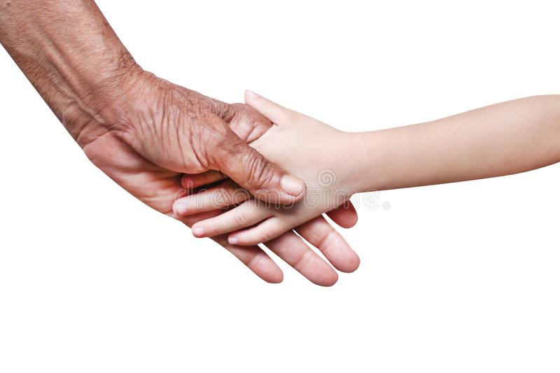 Grandma with wrinkles and  little asian girl grandchild shaking hands close up isolated on white background with clipping path. Close up Grandma with wrinkles royalty free stock photography