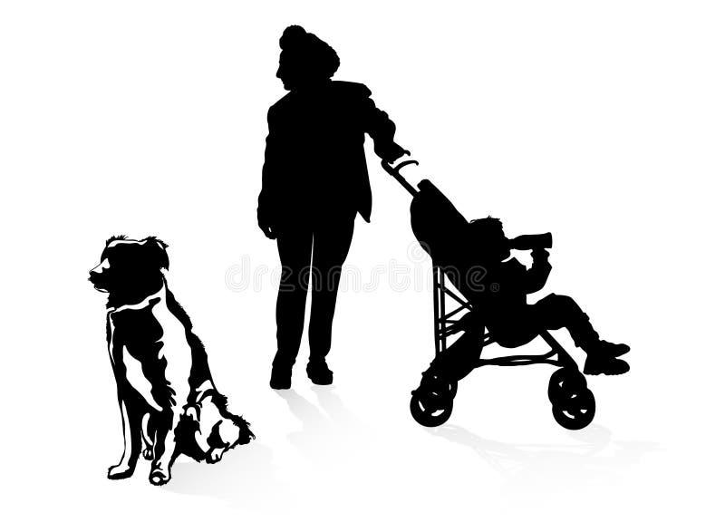 Grandmothe et fils illustration de vecteur