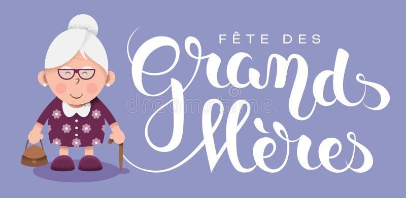 Grandmother's dzień w Francuskim: Fête des grands royalty ilustracja