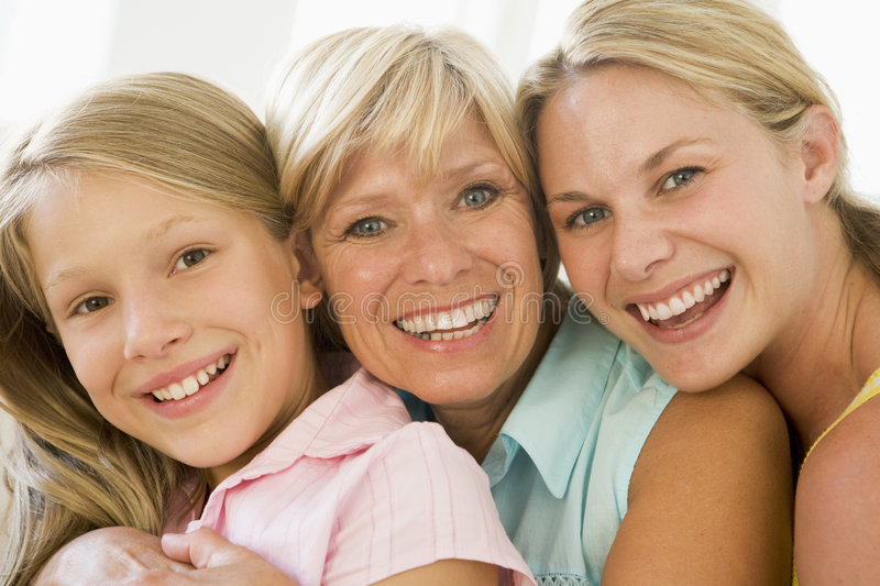 Grandmother with adult daughter and granddaughter royalty free stock photo