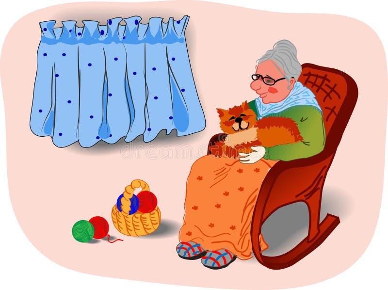 Grandmother&cat imagen de archivo libre de regalías