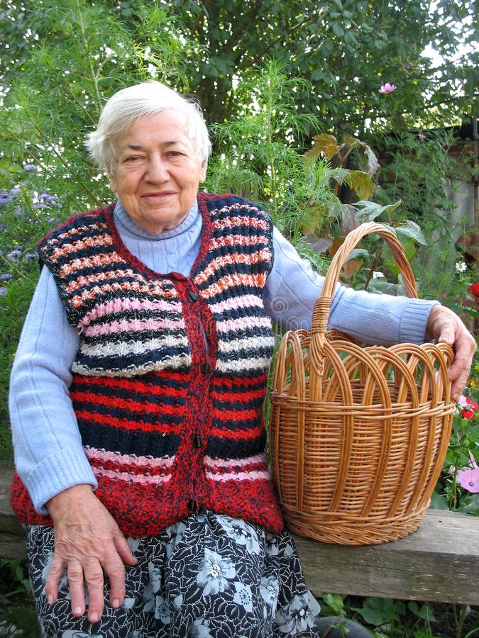 Grandmother with Basket stock image