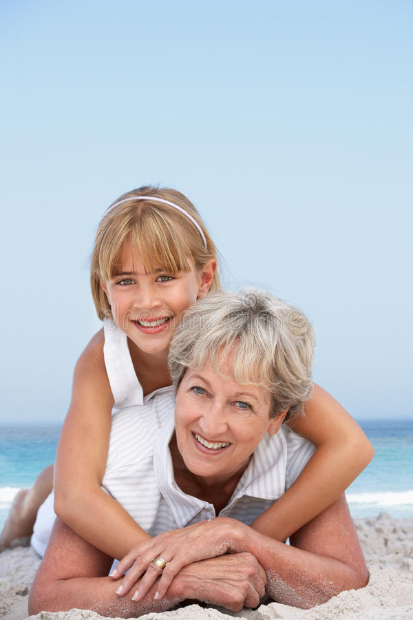 Download Grandmother On Beach With Granddaughter Stock Image - Image: 14690899