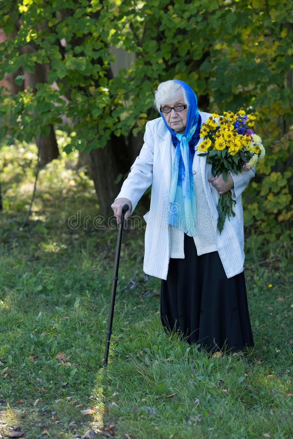 Grandmother with a cane and flowers. On the background of trees royalty free stock photography