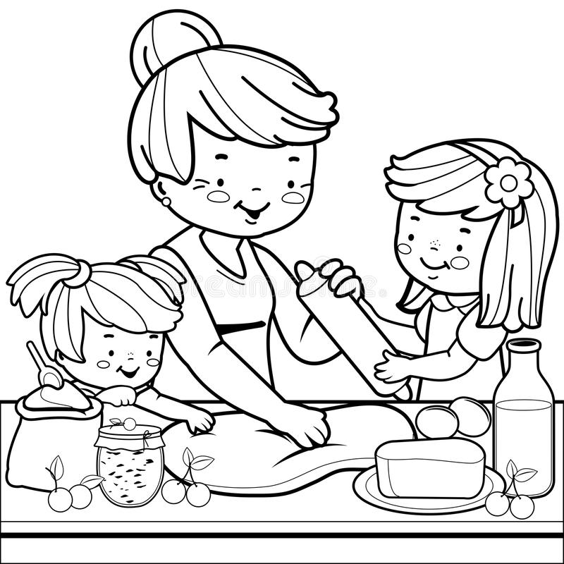 Grandmother and children cooking in the kitchen. Coloring book page stock illustration