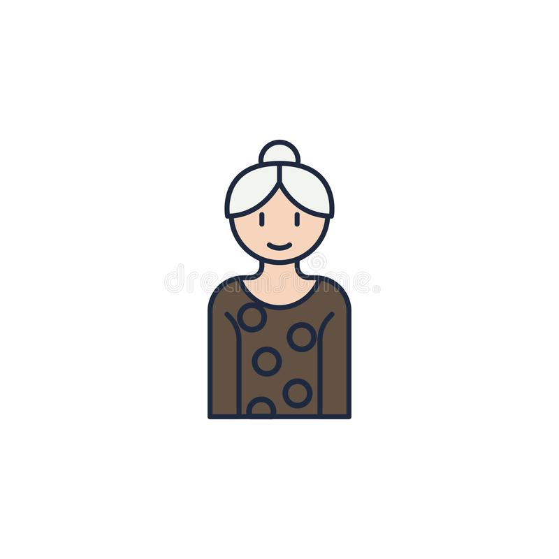 grandmother colored icon. Element of family icon for mobile concept and web apps. Colored grandmother icon can be used for web and royalty free illustration