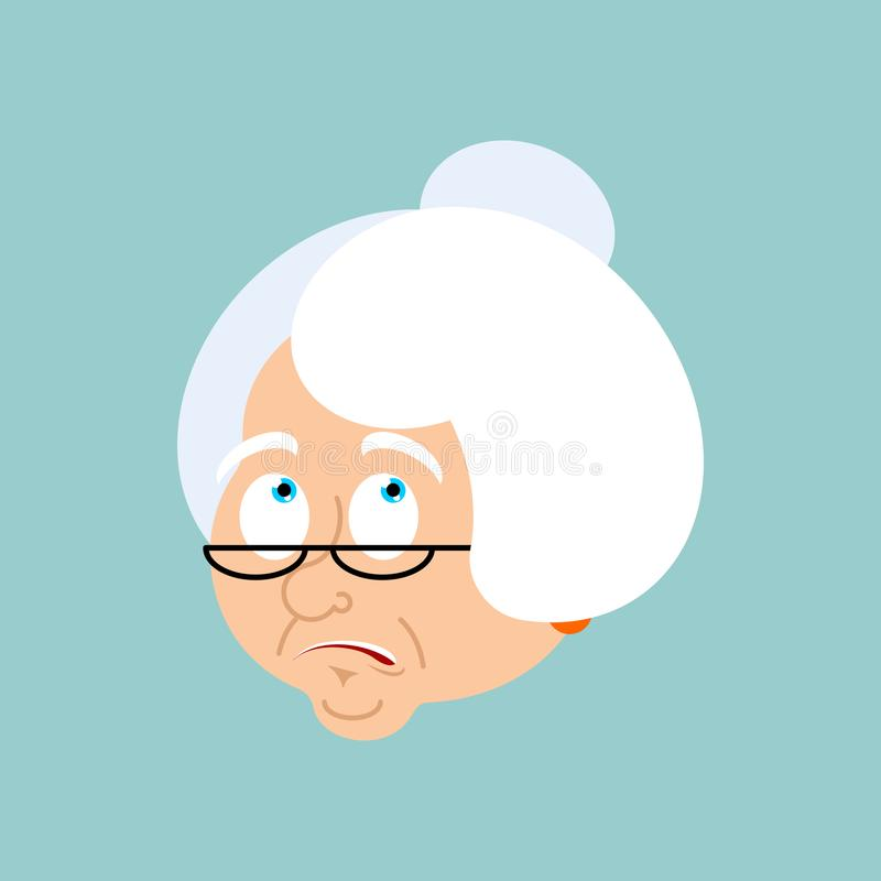 Grandmother confused emotions. Face Grandma is perplexed emoji. Old lady surprise avatar. Vector illustration stock illustration