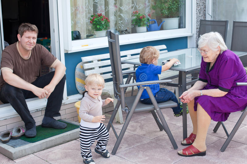 Download Grandmother, Father And Two Toddler Boys In Summer Stock Image - Image: 27478649