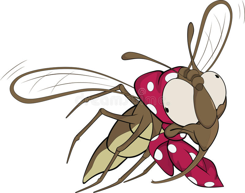 The grandmother a fly. Cartoon. The grandmother a fly with a scarf vector illustration