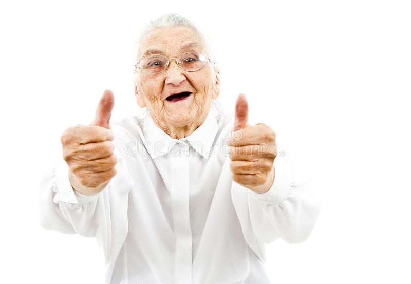 Funny grandma. Grandmother with funny expressions ona n isoltaed background royalty free stock image