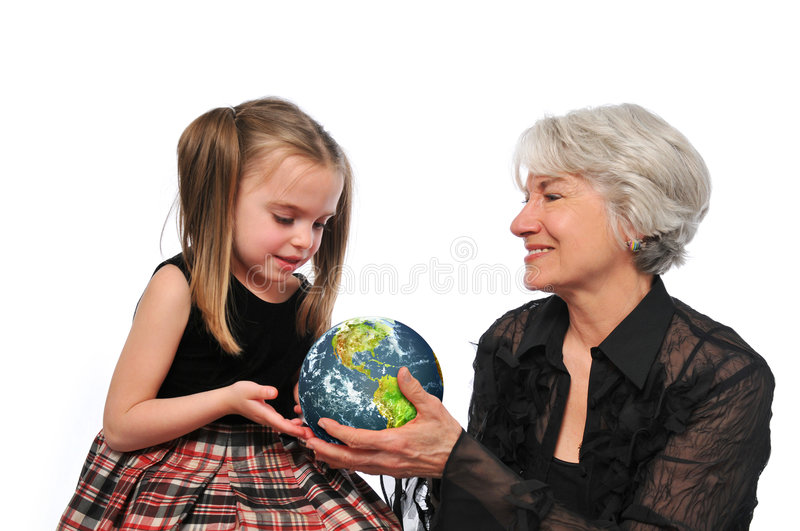 Grandmother And Girl Holding The Earth Royalty Free Stock Image