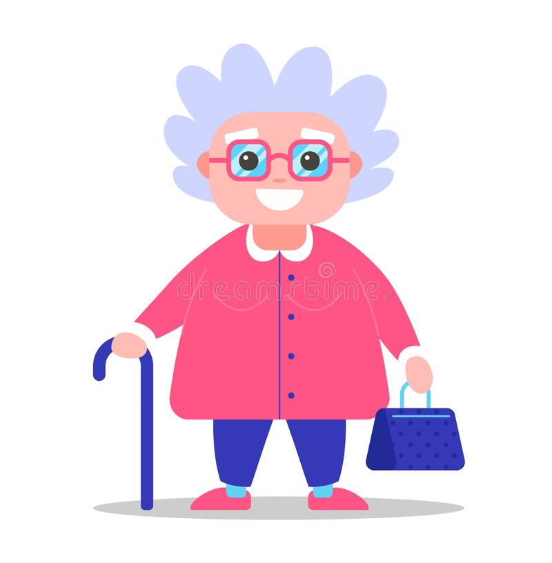 Grandmother with glasses stands stock illustration