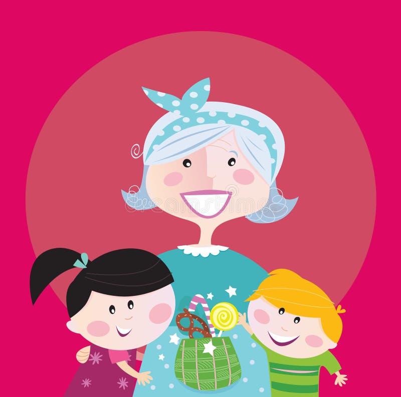 Grandmother with grandchildren stock illustration