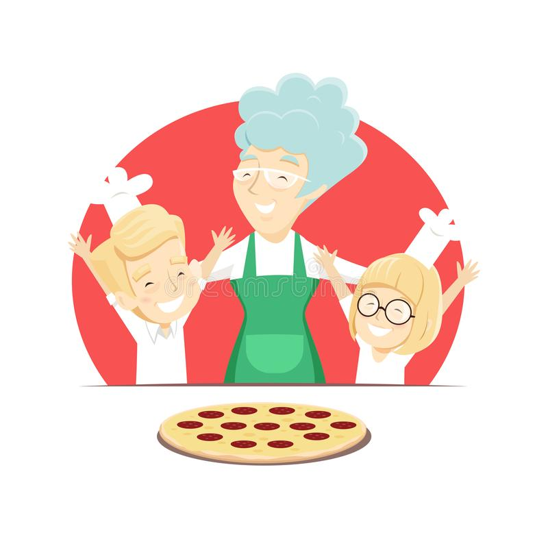 Grandmother with grandchildren bakes Italian pizza stock image