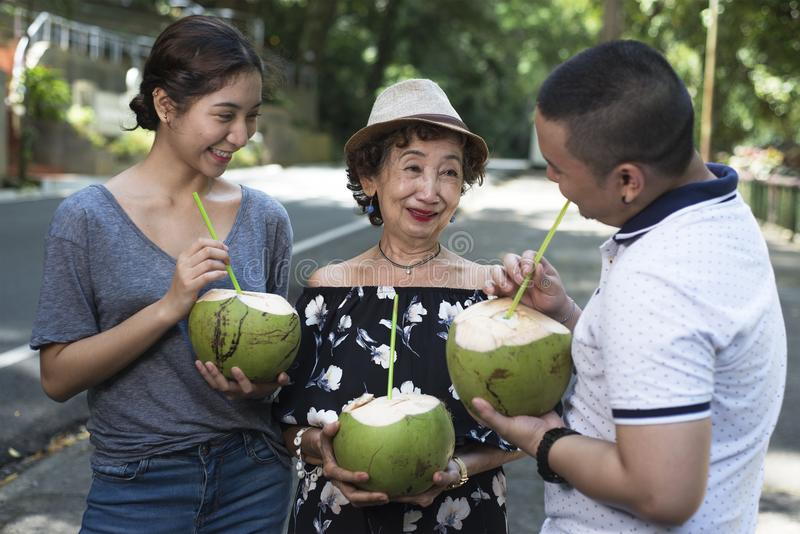 Refreshing With Coconut Juice stock photos