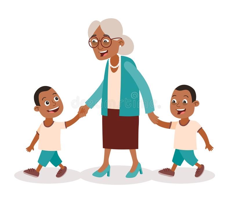 Grandmother and grandchildren twins walking. Grandmother with her grandchildren walking. Two boys, twins. She takes them by the hand. Cartoon style, isolated on stock illustration