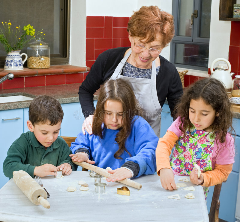 Download Grandmother And Grandchilds Baking Stock Image - Image: 8758979