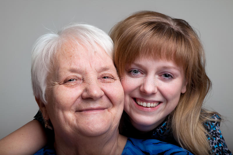 Grandmother and granddaughter royalty free stock image