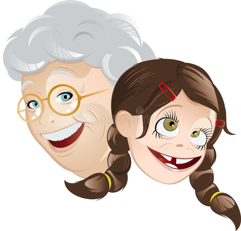 Download Grandmother And Granddaughter Stock Vector - Illustration of braids, faces: 17966018