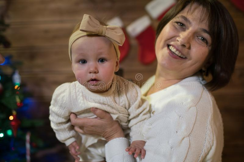 Grandmother and granddaughter in christmas royalty free stock image