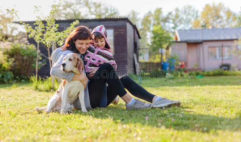 Grandmother with granddaughter and dog playing on the sunbathing lawn. Sunny spring day in the village stock image