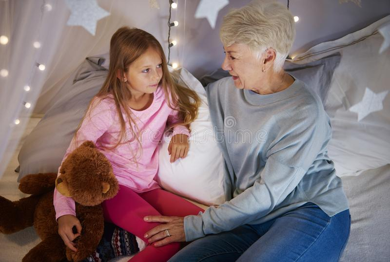 Grandmother with granddaughter royalty free stock photography