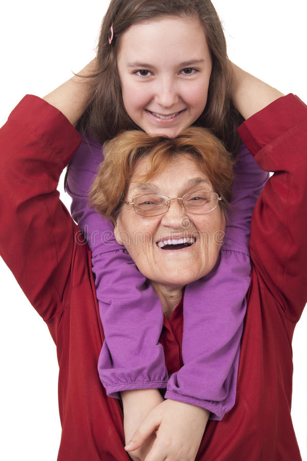 Grandmother And Granddaughter Hugging Stock Photography