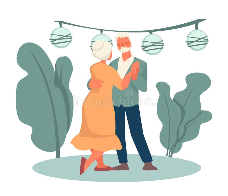 Grandmother and grandfather dancing in park, happy retirement, date. Elderly couple dancing at open air party, grandfather and grandmother in park vector vector illustration