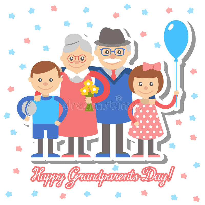 Grandmother and grandfather grandchildren greeting card for grandparents day. Vector illustration. Grandmother and grandfather and grandchildren greeting card stock illustration