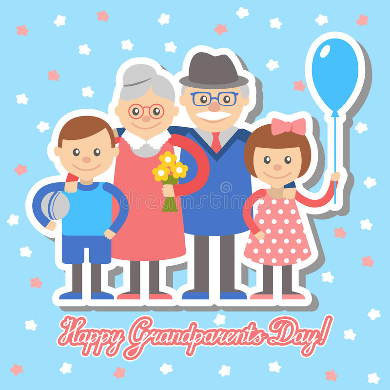 Grandmother and grandfather grandchildren greeting card for grandparents day. Vector illustration. Grandmother and grandfather and grandchildren greeting card royalty free illustration