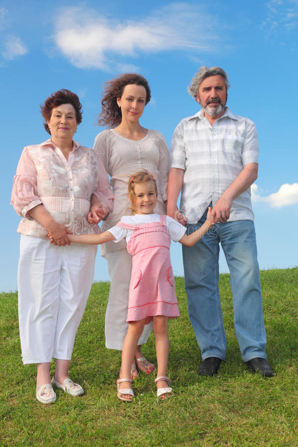 Download Grandmother, Grandfather, Mother And Little Girl Stock Photo - Image of nature, hold: 20005190