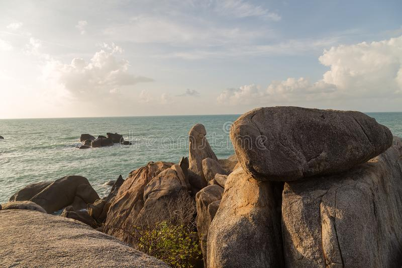 Grandmother and Grandfather Rocks - Samui in Lamai Beach Thailand. Grandmother and Grandfather Rocks mountain natural on Koh Samui in Lamai Beach Thailand royalty free stock photo