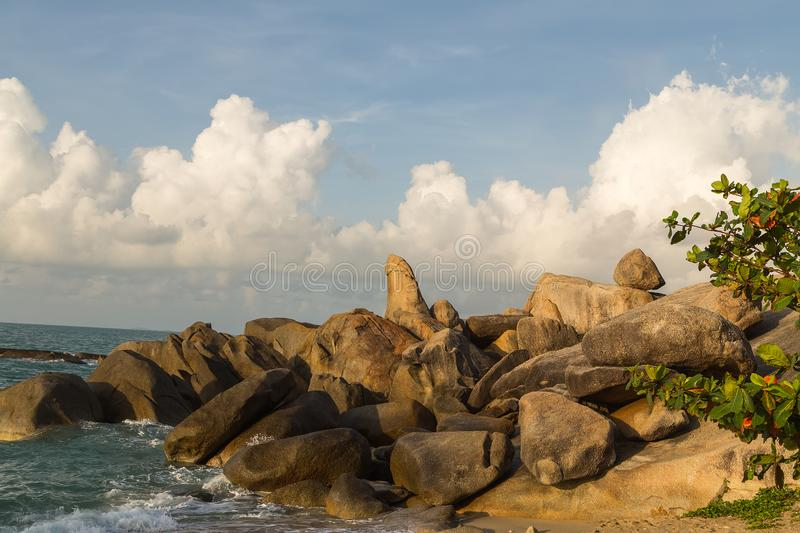 Grandmother and Grandfather Rocks - Samui in Lamai Beach Thailand. Grandmother and Grandfather Rocks mountain natural on Koh Samui in Lamai Beach Thailand stock photo