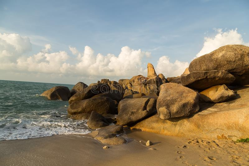Grandmother and Grandfather Rocks - Samui in Lamai Beach Thailand. Grandmother and Grandfather Rocks mountain natural on Koh Samui in Lamai Beach Thailand stock photos