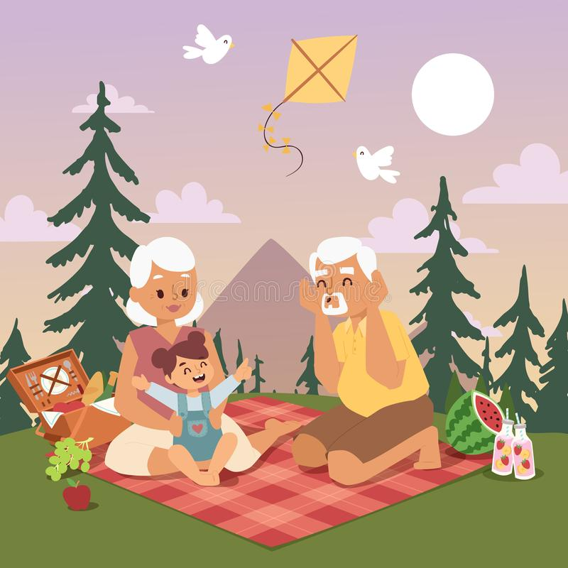 Grandmother and grandfather together play with their happy young granddaughter at a summer picnic outdoor nature near vector illustration