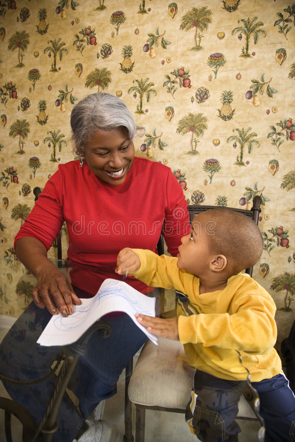 Download Grandmother With Grandson Coloring. Stock Image - Image: 2037033
