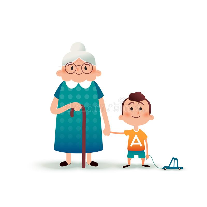 Grandmother and grandson holding hands. Little boy with a toy car and old woman cartoon vector illustration. Happy. Family concept. Cartoon vector flat stock illustration